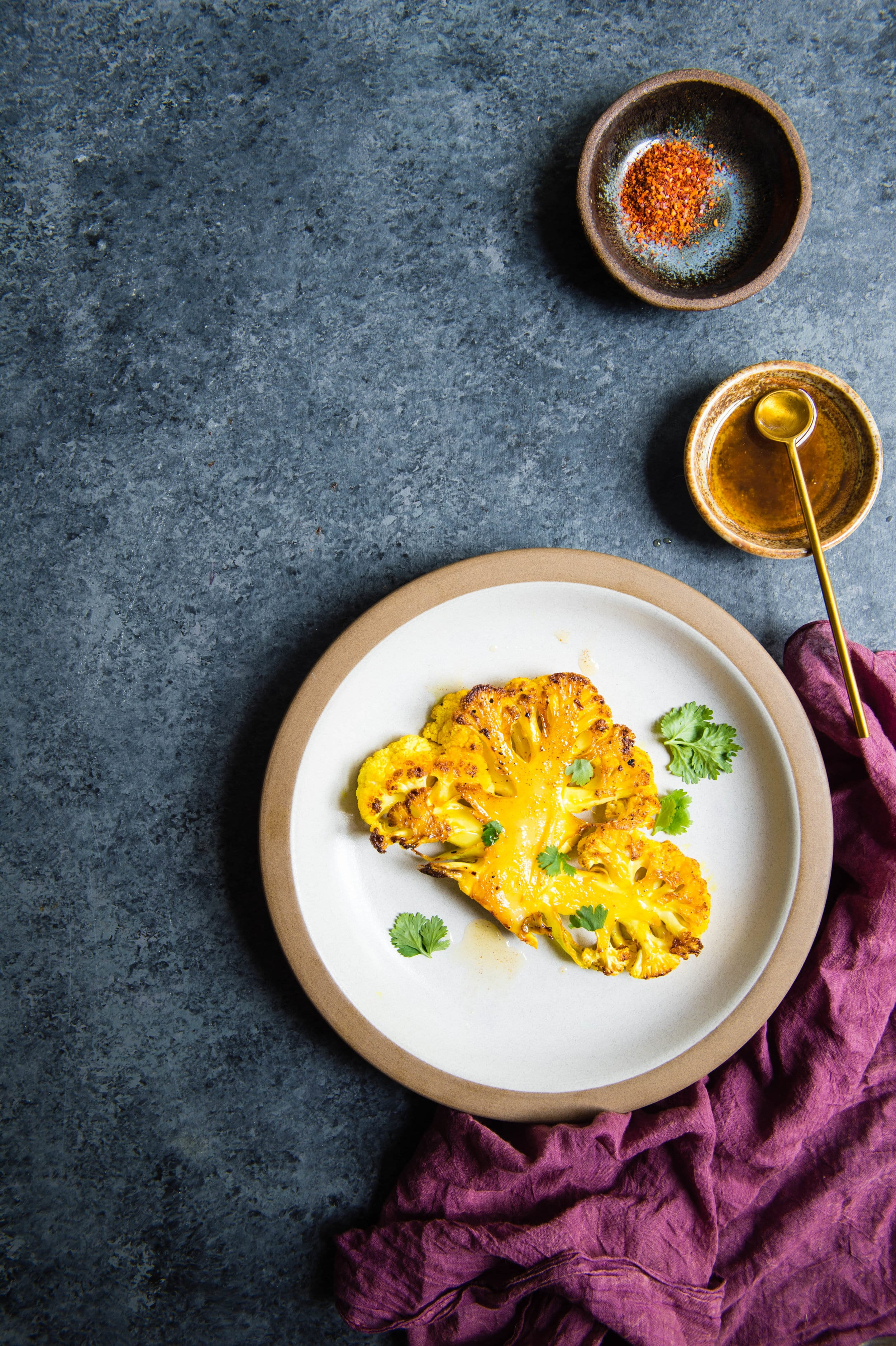 Real Food Recipes with Laurel Street Kitchen Turmeric Roasted Cauliflower Steaks with Curried Ghee