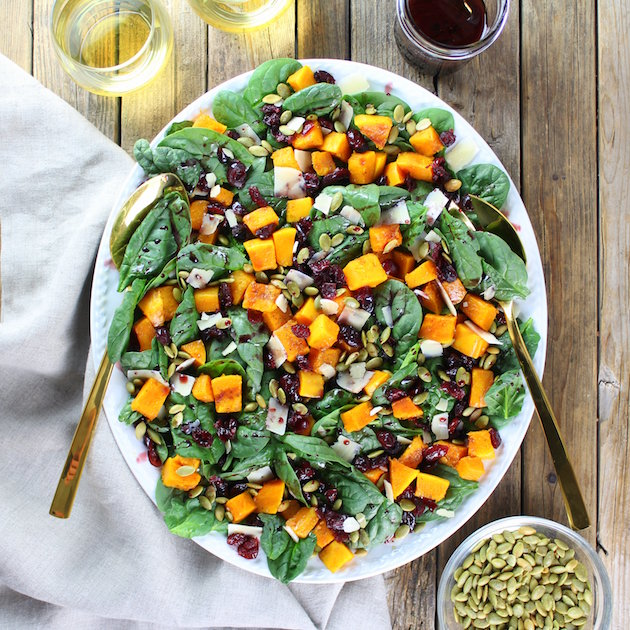 Vegetarian Salad Recipes Butternut Squash Cranberry and Spinach Salad