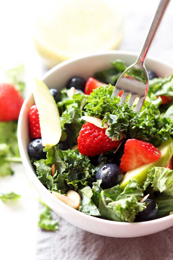 Apple and Berry Chopped Kale Salad with Citrus Basil Vinaigrette