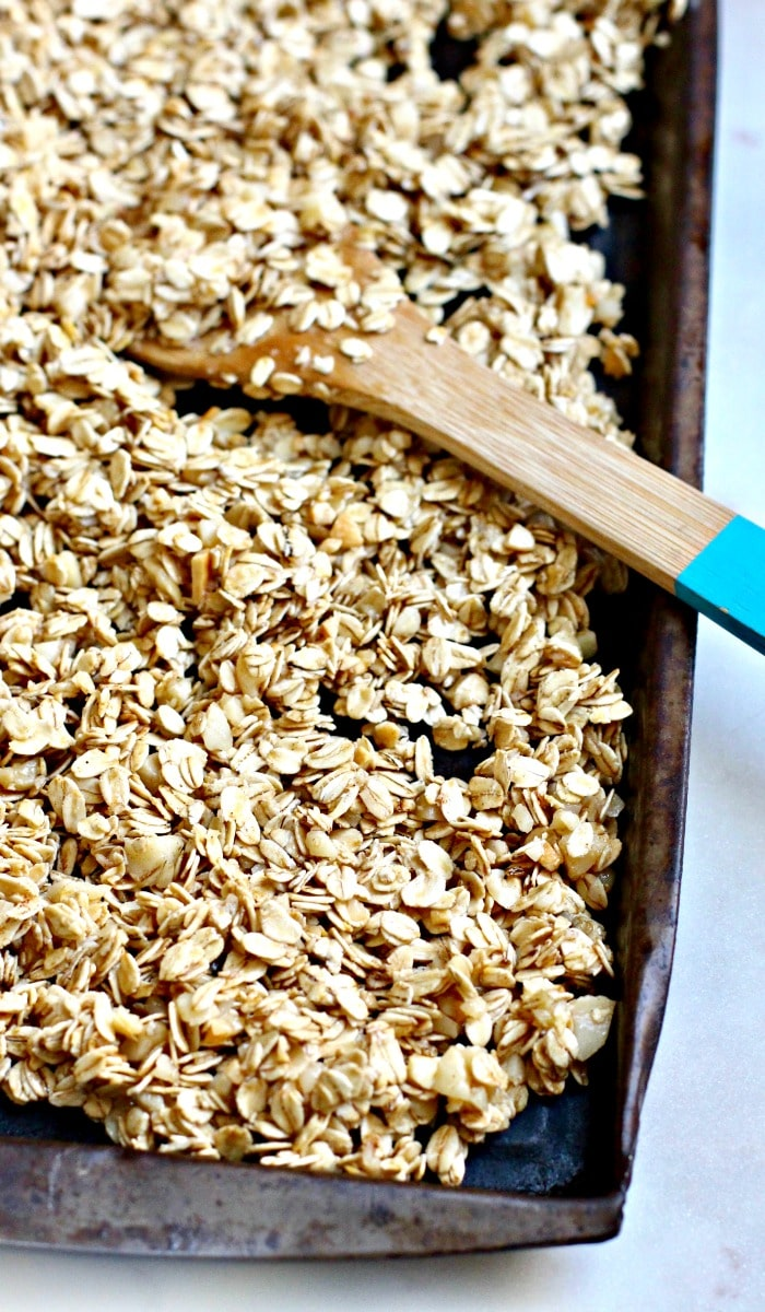 Easy Homemade Granola Recipe Ready to Bake in Pan