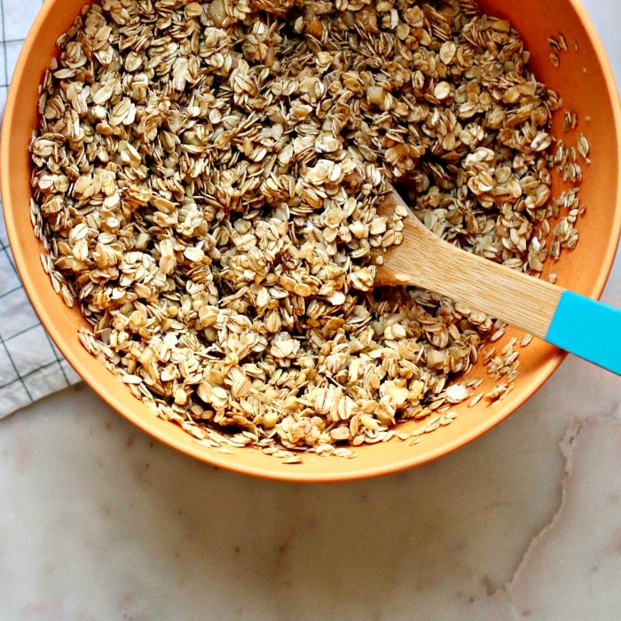 Easy Homemade Granola Recipe mixed up in bowl