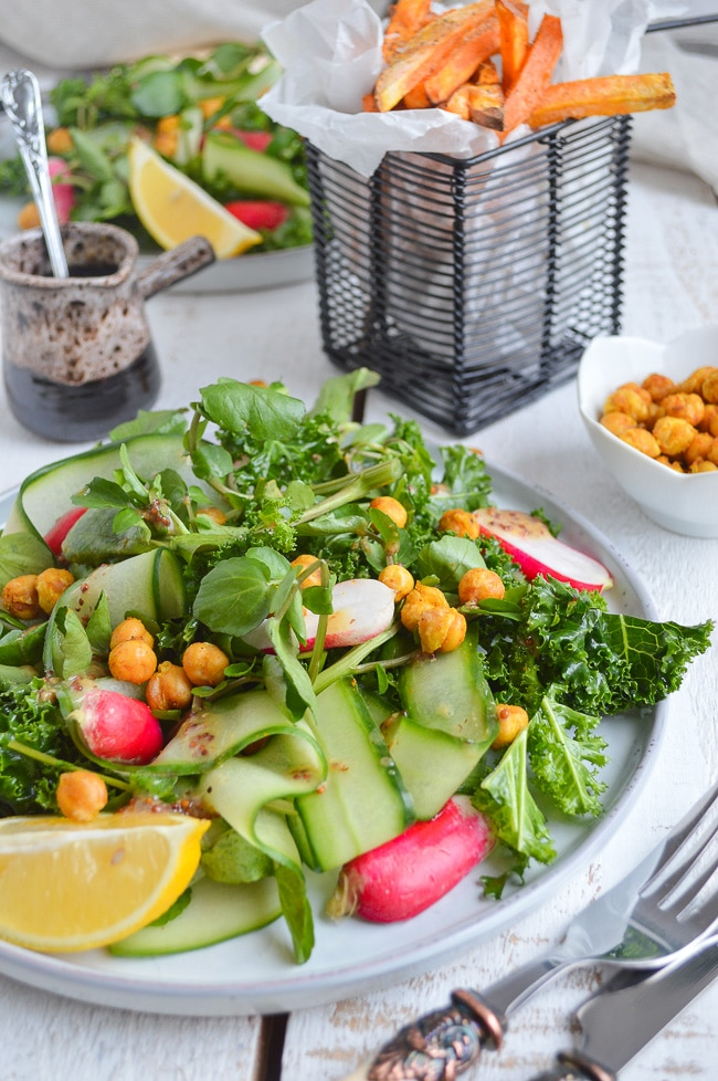 Green Vegan Salad Recipes Kale Salad with Spicy Roasted Chicpeas