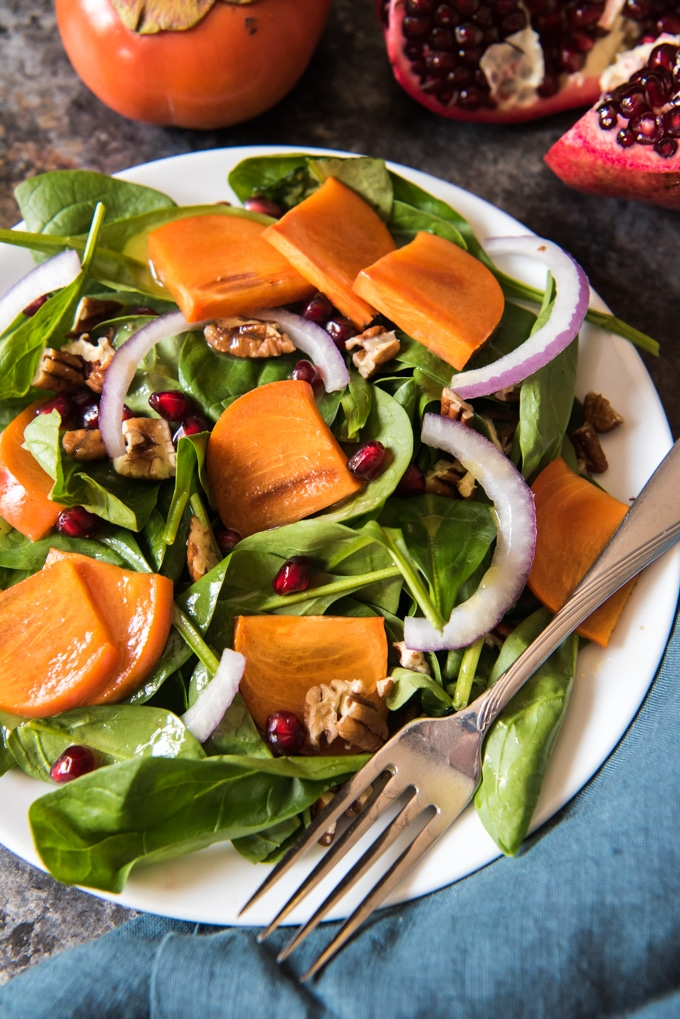 Winter Salad Recipes Persimmon Pomegranate Spinach Salad