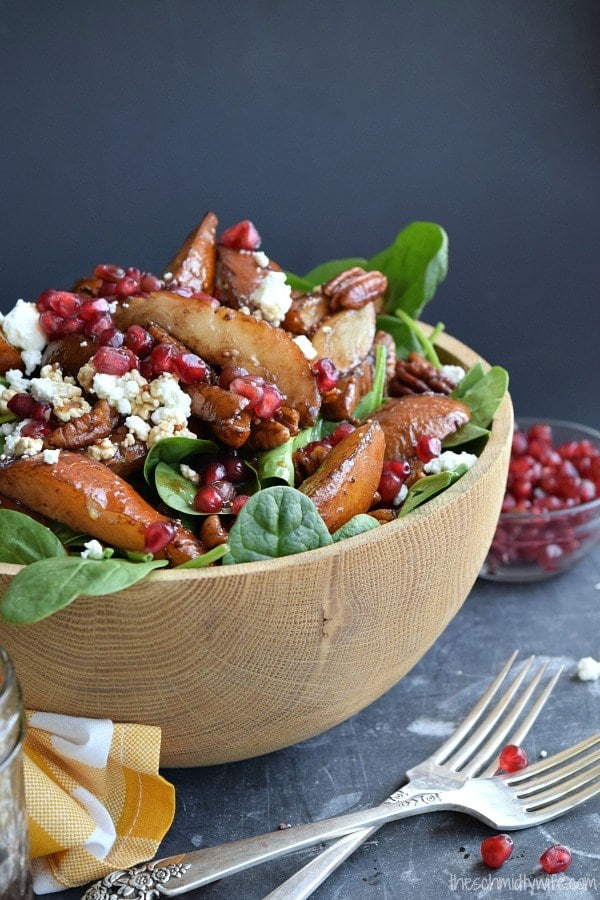Winter Salad Recipes Roasted Pear Pecan Salad