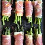 asparagus wrapped in cheese and prosciutto