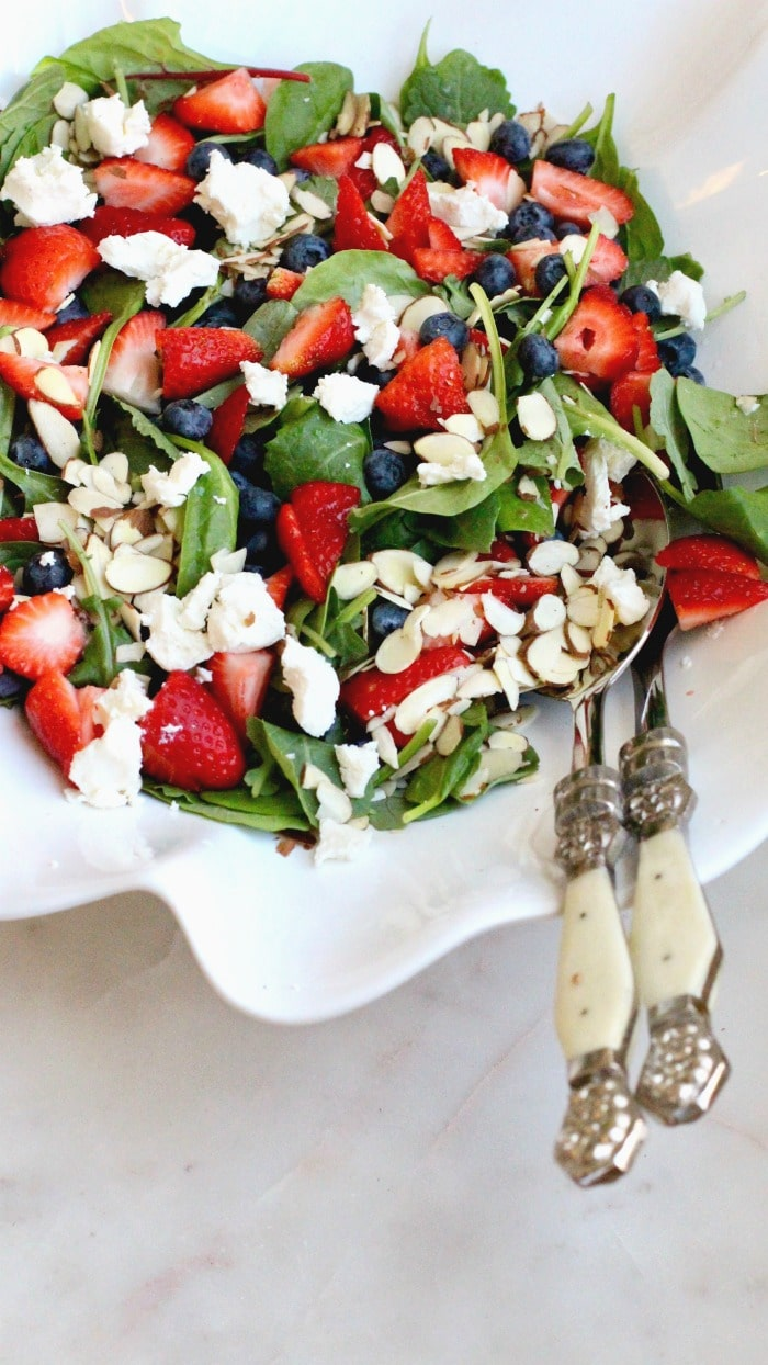 Strawberry Blueberry Spinach Salad with Goat Cheese and Almonds