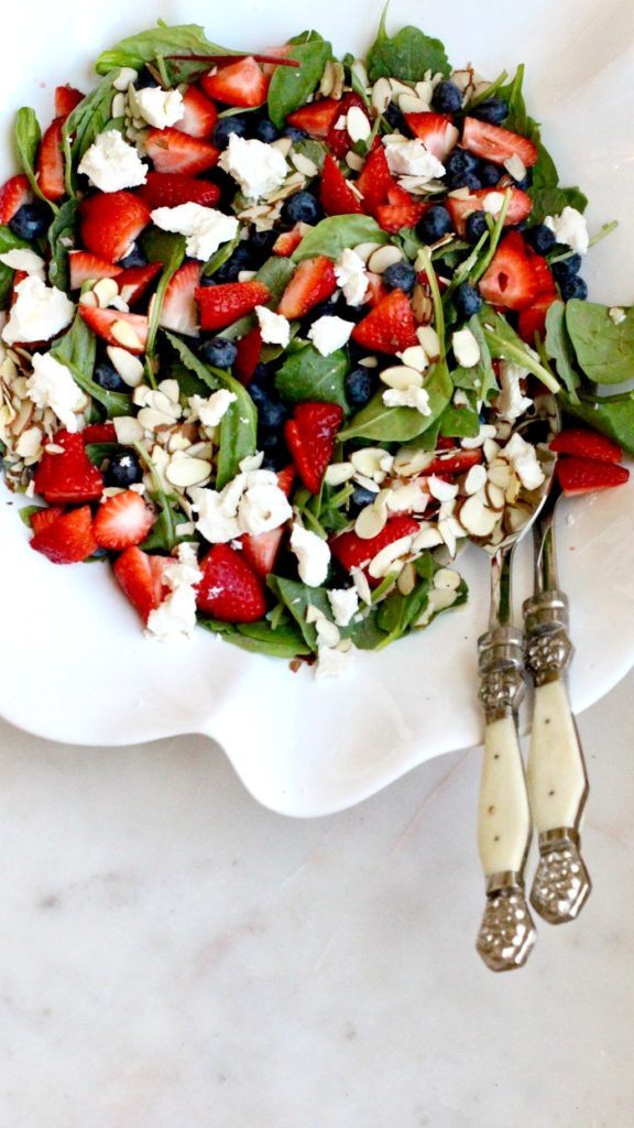 Strawberry Blueberry Spinach Salad with Goat Cheese and Almonds Simple Recipe