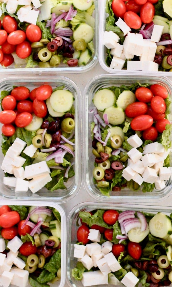 Lunch Meal Prep Greek Salad Bowl Recipe Tomato Cucumber Olives Red onion Tomato Feta