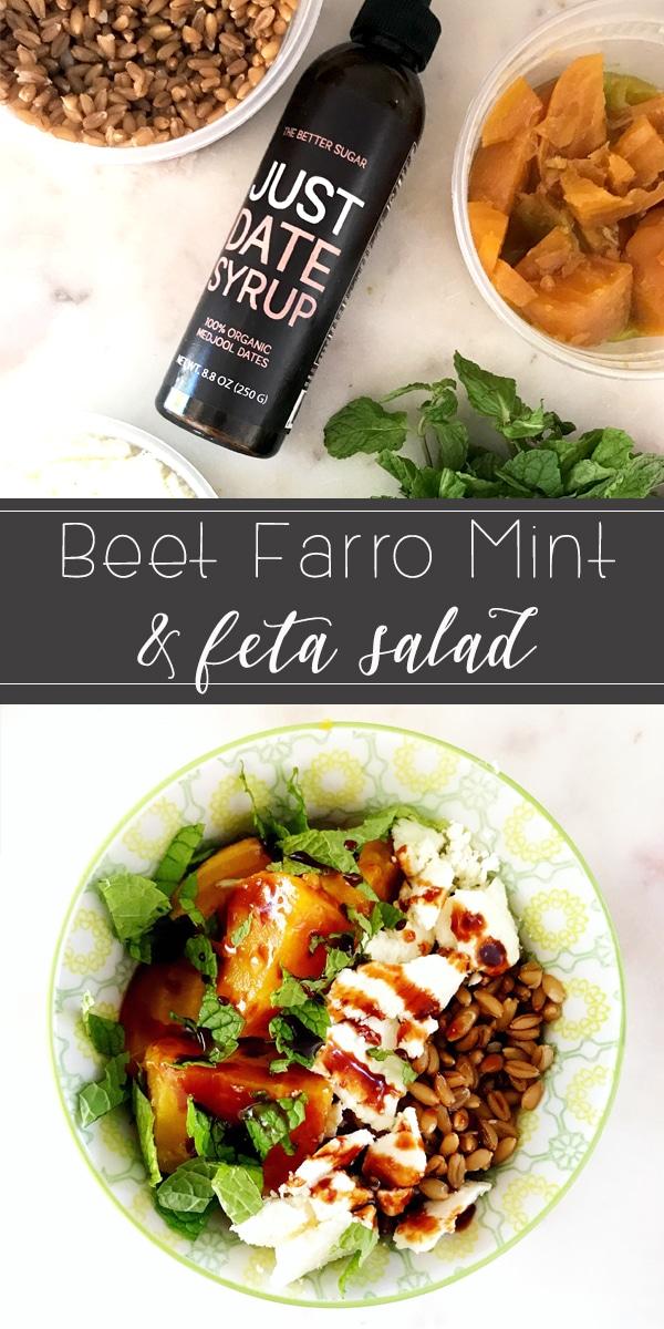beet farro feta salad recipe on rainbowdelicious.com