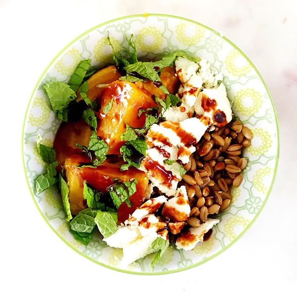 beet farro feta salad with mint
