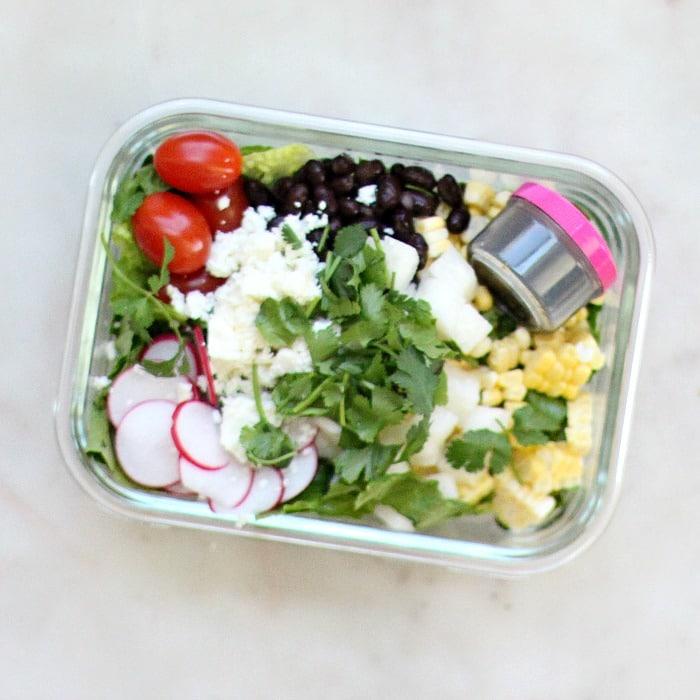 Lunch Meal Prep Black Bean Jicama Salad Recipe with Dressing