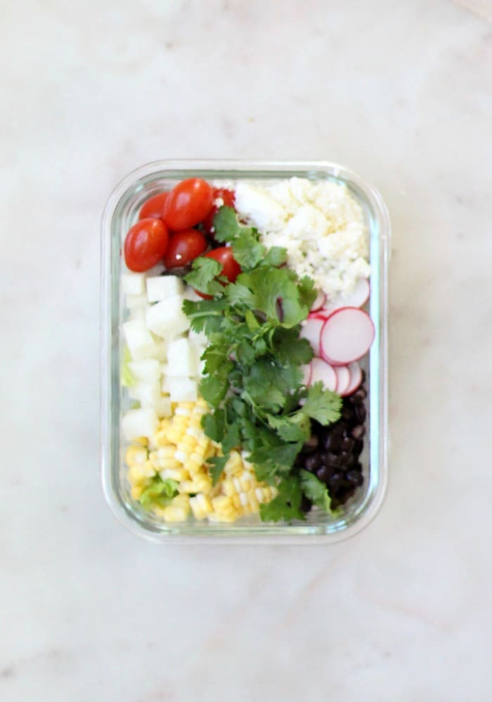 Lunch Meal Prep Black Bean Jicama Salad Recipe in Glass Container