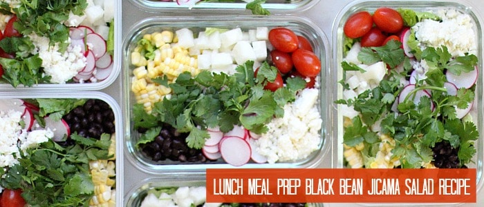 Lunch Meal Prep Black Bean Jicama Salad Recipe, Six Servings
