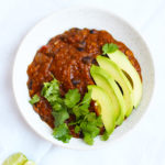 Vegetarian Pumpkin Black Bean Chili Recipe with lime cilantro and avocado