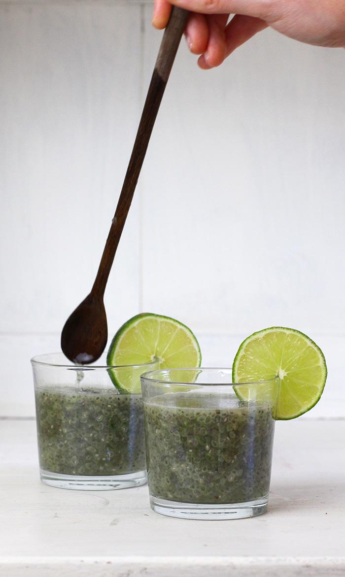 Mint Chia Seed Limeade Recipe honey sweetened