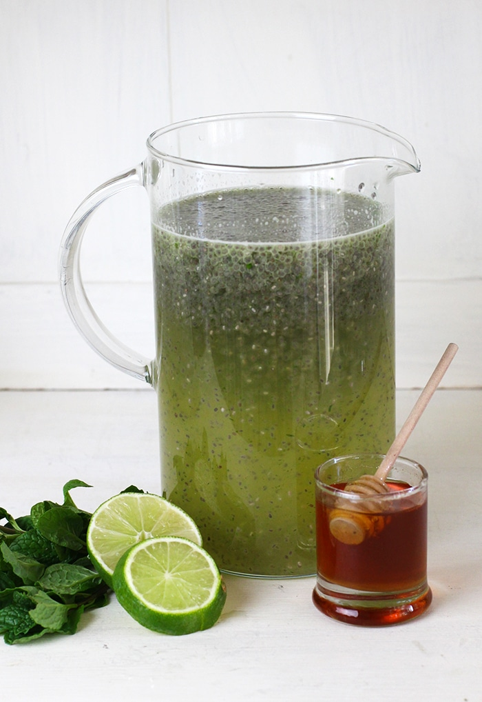 Mint Chia Seed Limeade Recipe sweetened with Honey