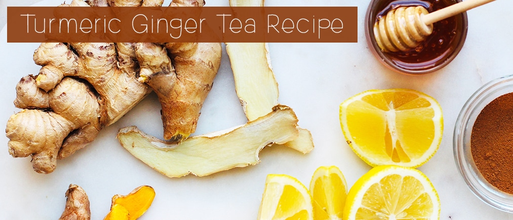 Turmeric Ginger Tea Recipe with Cinnamon, Honey and Lemon