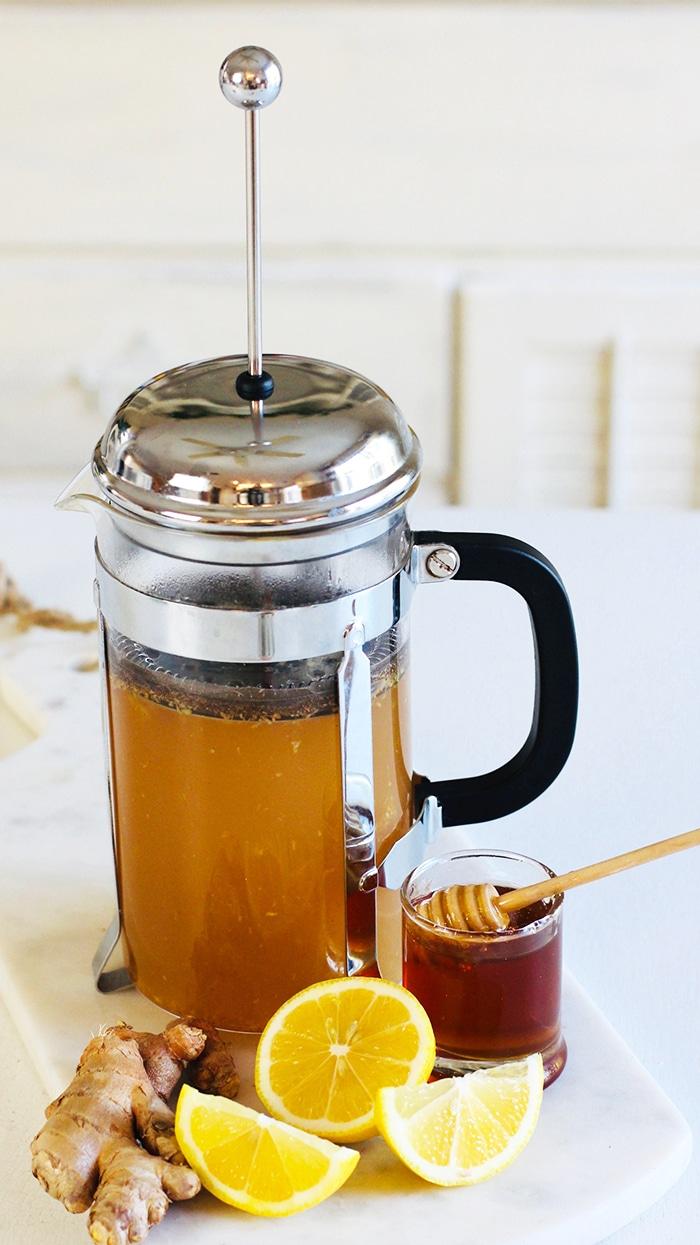 turmeric ginger tea recipe in French Press