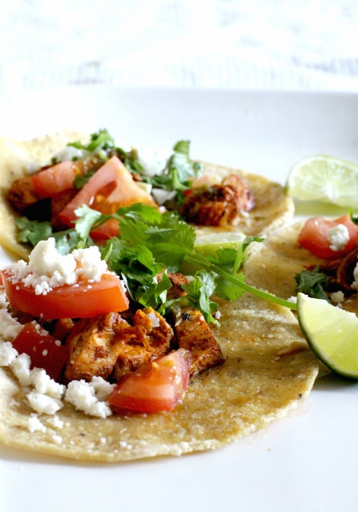 Chili, Garlic and Lime Chicken Tacos with Cilantro and Queso Fresco Recipe