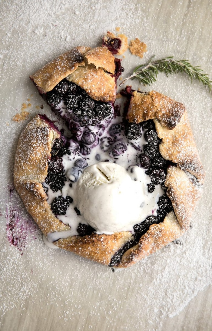 blueberry recipes- blackberry blueberry galette with rosemary