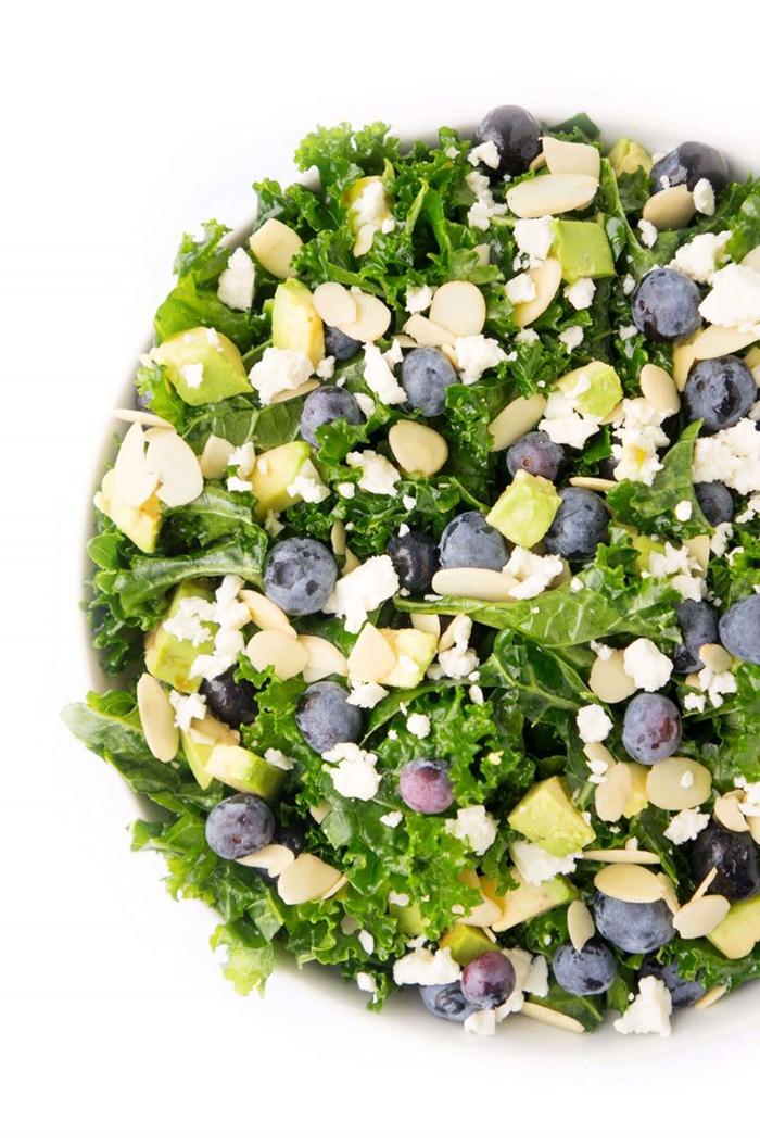 blueberry recipes - blueberry avocado kale salad