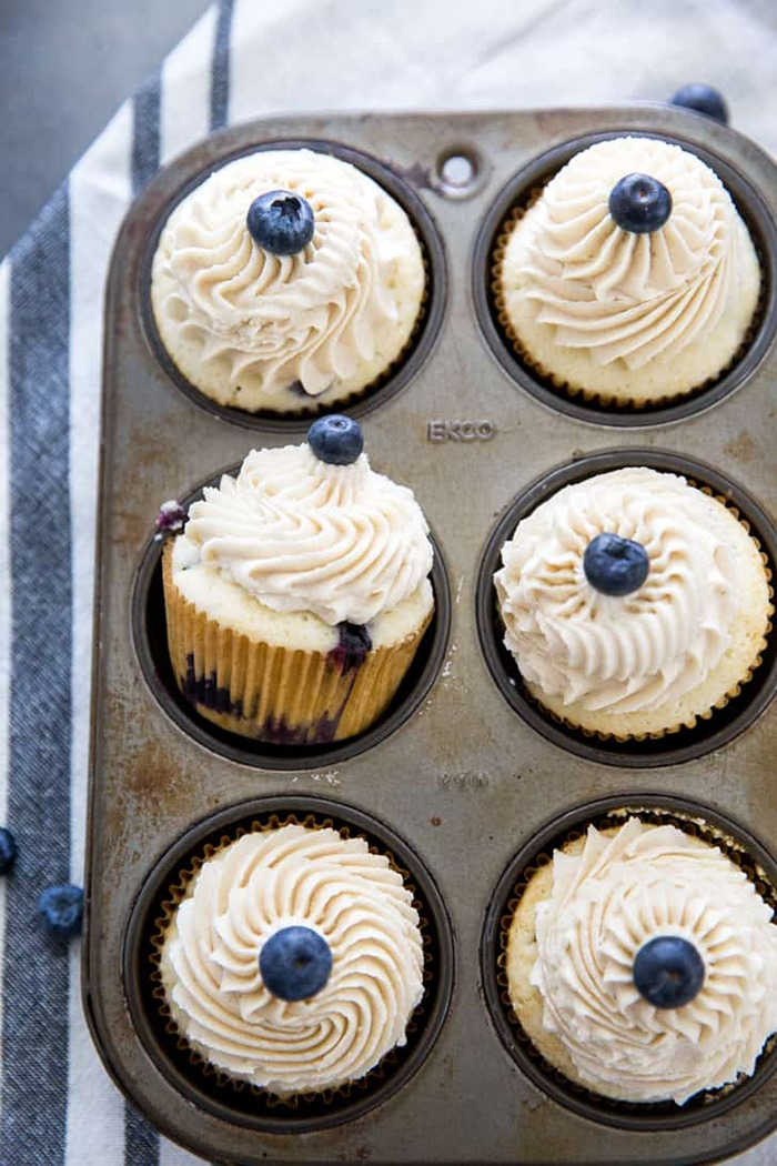 blueberry recipes - blueberry cupcakse with brown sugar frosting