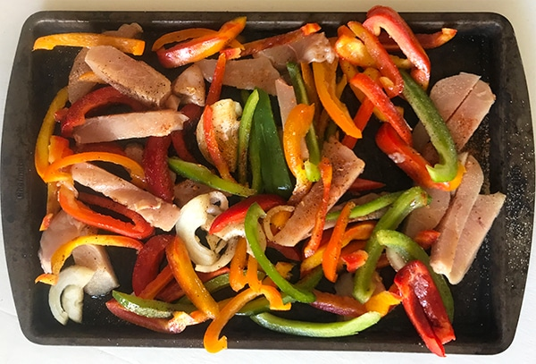 Simple Sheet Pan Chicken Fajitas before oven