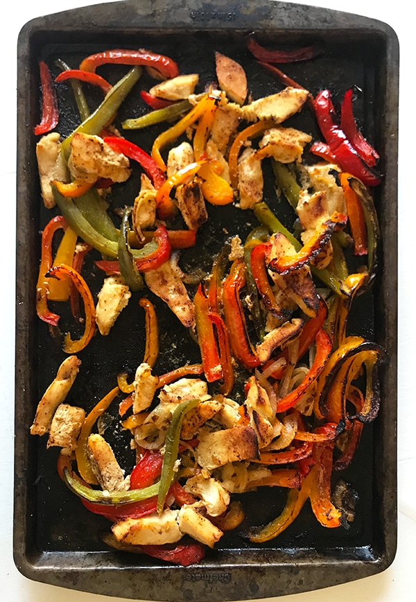 Simple Sheet Pan Chicken Fajitas Out of oven