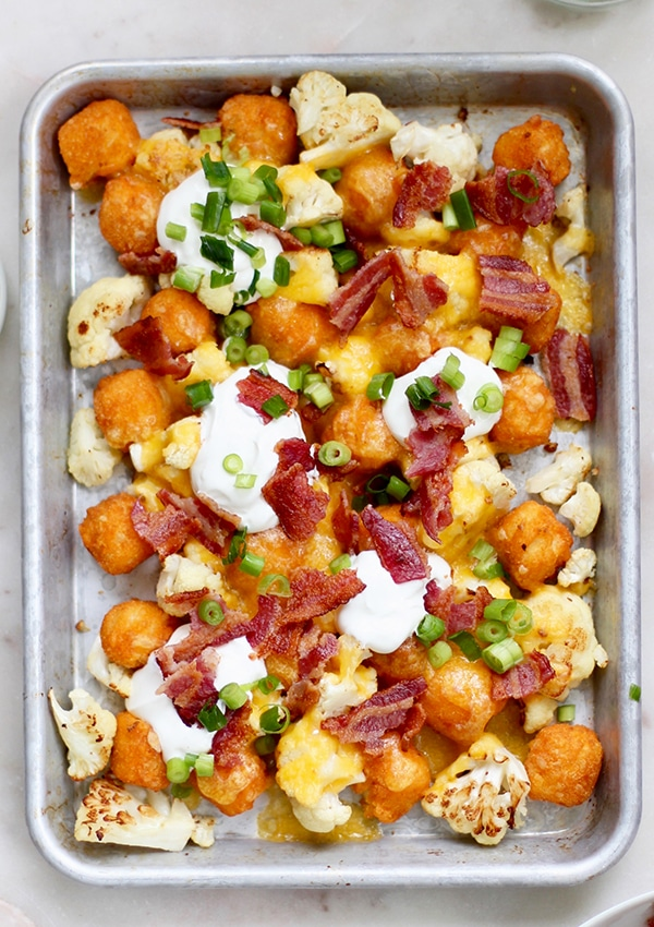 Veggie Tater Nachos with Roasted Cauliflower and Green Onions