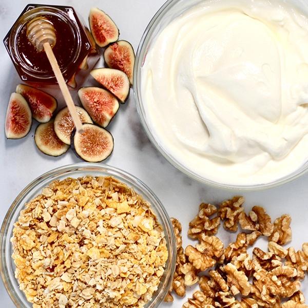 Ingredients for Yogurt Honey Fig Breakfast Parfait