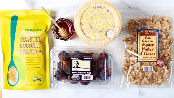 Yogurt Honey Fig Breakfast Parfait ingredients from Trader Joes