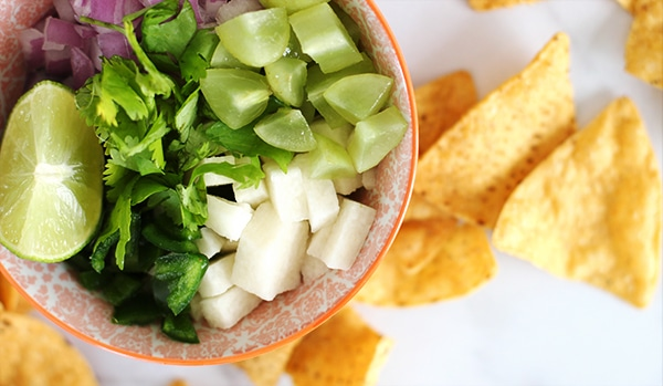 Grape Salsa Recipe with Cilantro, Red onion, lime and jicama