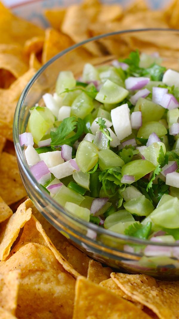 Grape Salsa Recipe with Tortilla Chips
