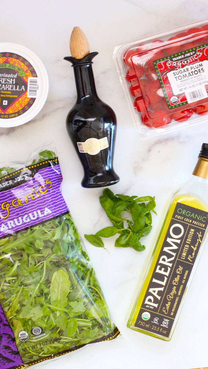 Ingredients for Meal Prep Caprese Arugula Salad