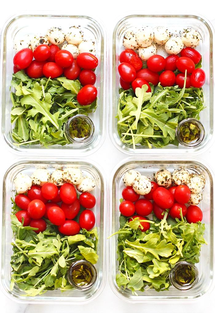 Meal Prep Caprese Arugula Salad Rainbow Delicious