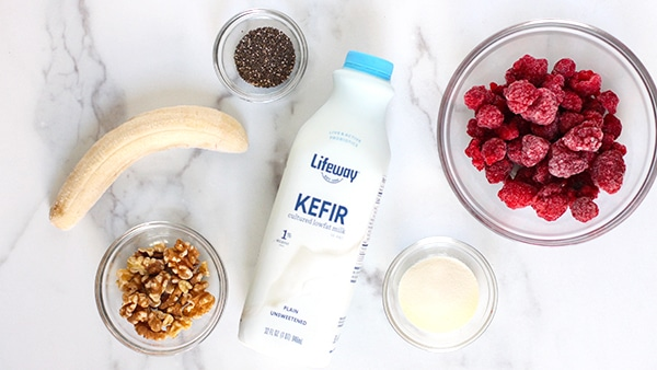 Raspberry Walnut Kefir Smoothie ingredients