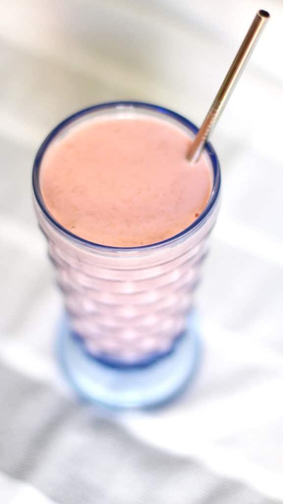 Raspberry Walnut Kefir Smoothie with Straw