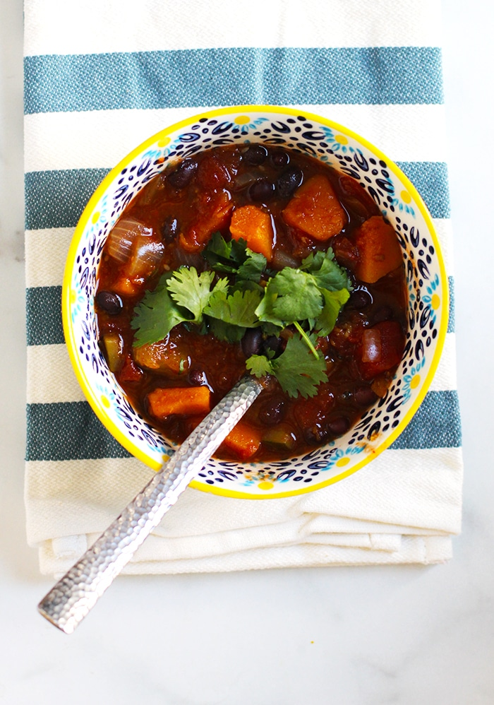 Butternut Squash Chili Recipe with zucchini onions and black beans