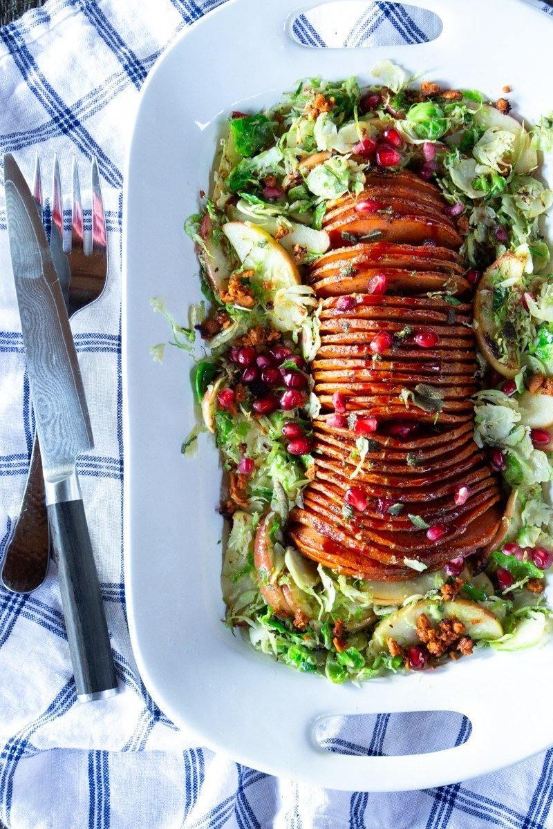 Vegetarian Thanksgiving Menu Hasselback Butternut Squash