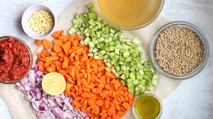 vegetable lentil soup Ingredients