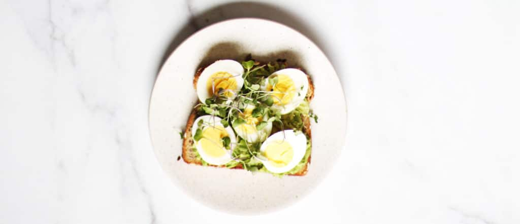 Avocado egg toast with micro greens