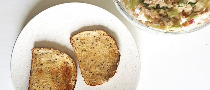 easy tuna sandwich on toasted bread