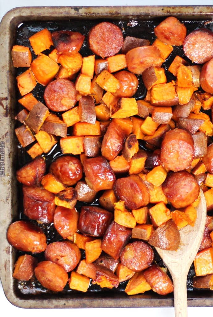 Sheet Pan Dinner with Sausage and Sweet Potato and Maple