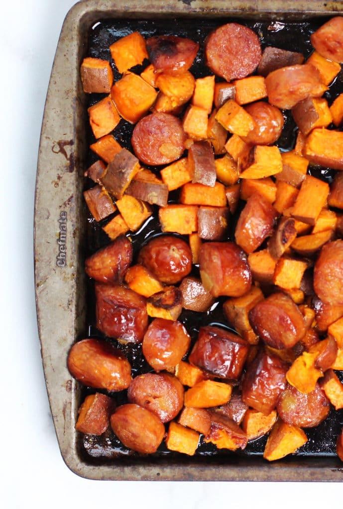Sweet Potato Sasage Shete Pan Dinner So Simple