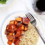 Sweet potato sausage sheet pan dinner recipe on Rainbow Delicious