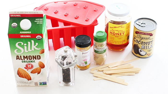 ingredients for golden milk coconut popsicle recipe