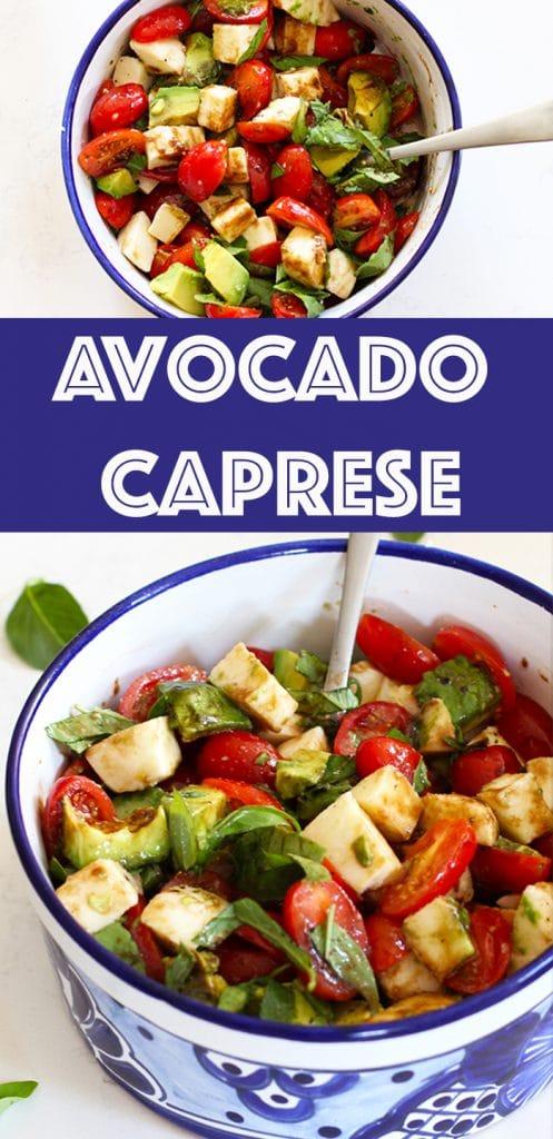 Easy Avocado Caprese Recipe Pin Image