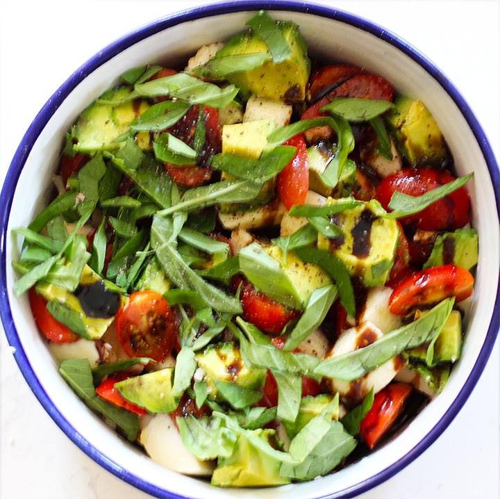 easy avocado Caprese salad recipe - add basil