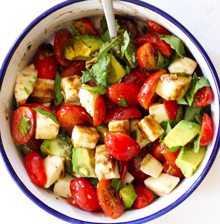 easy avocado Caprese salad recipe Gently Stir