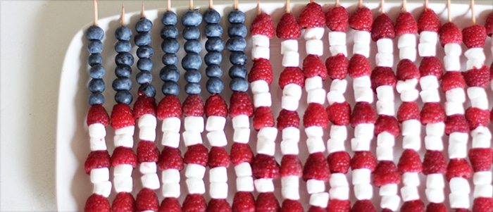 Fourth of July Fruit Skewers on White Platter
